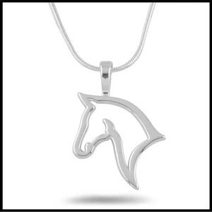 Silver Plated Charm Alloy horse Pendant Necklace